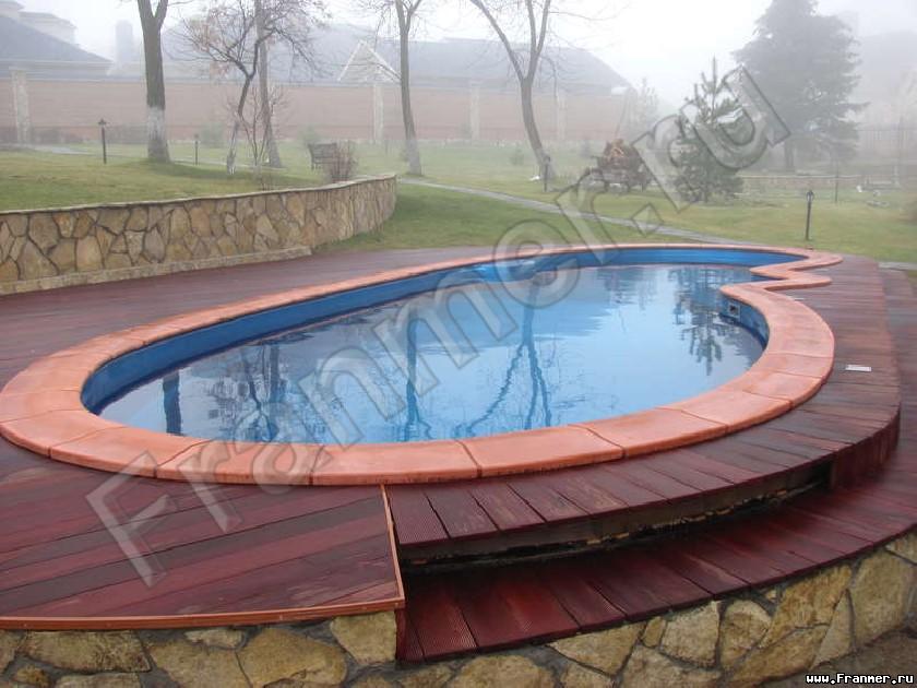 Деревянный настил под бассейн фото